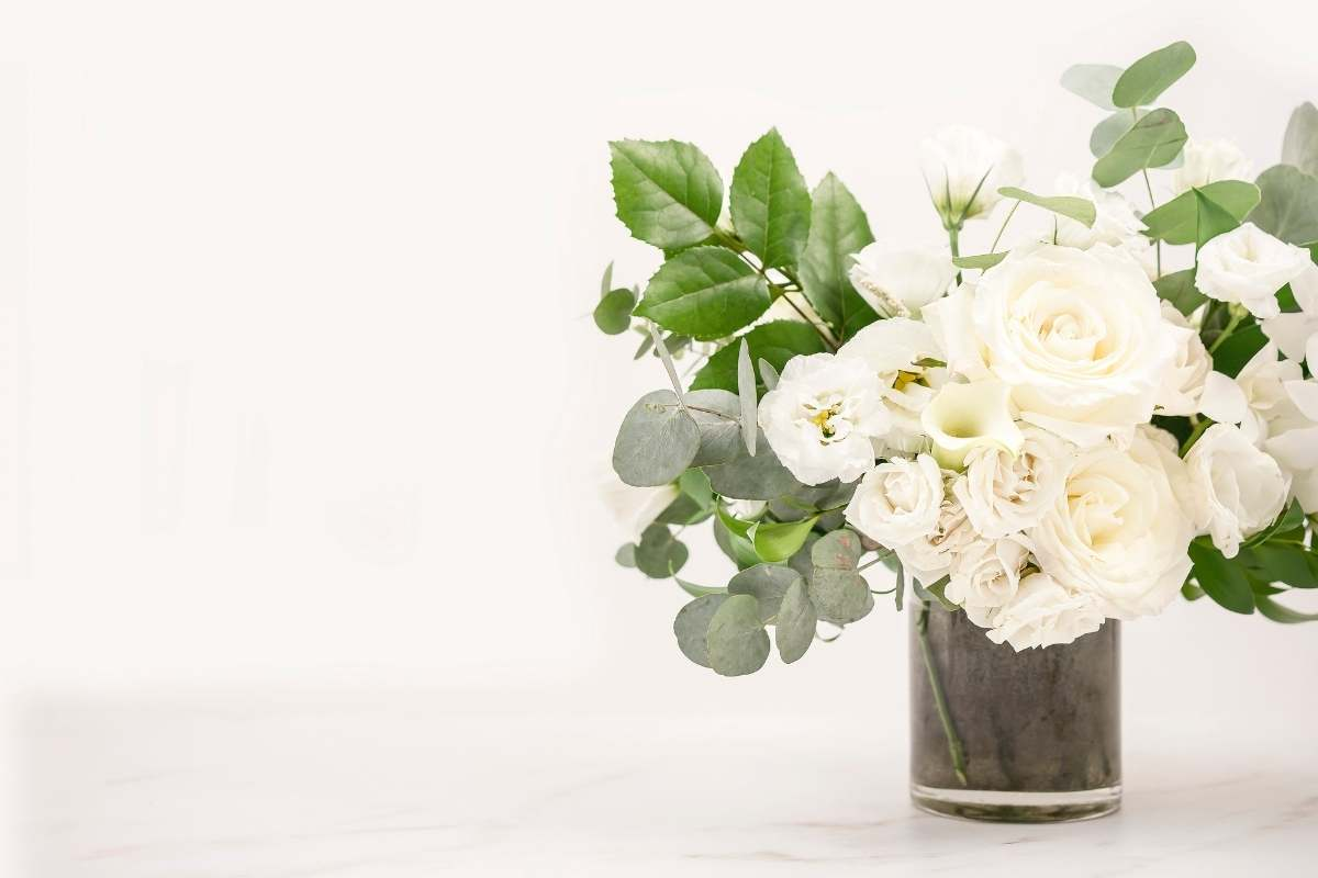 white flowers on marble counter
