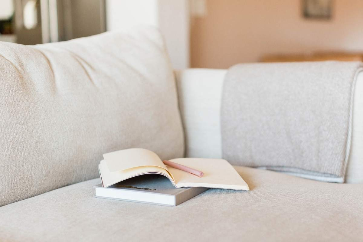 couch with book