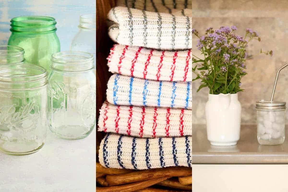 mason jars, rags, and reusable cups