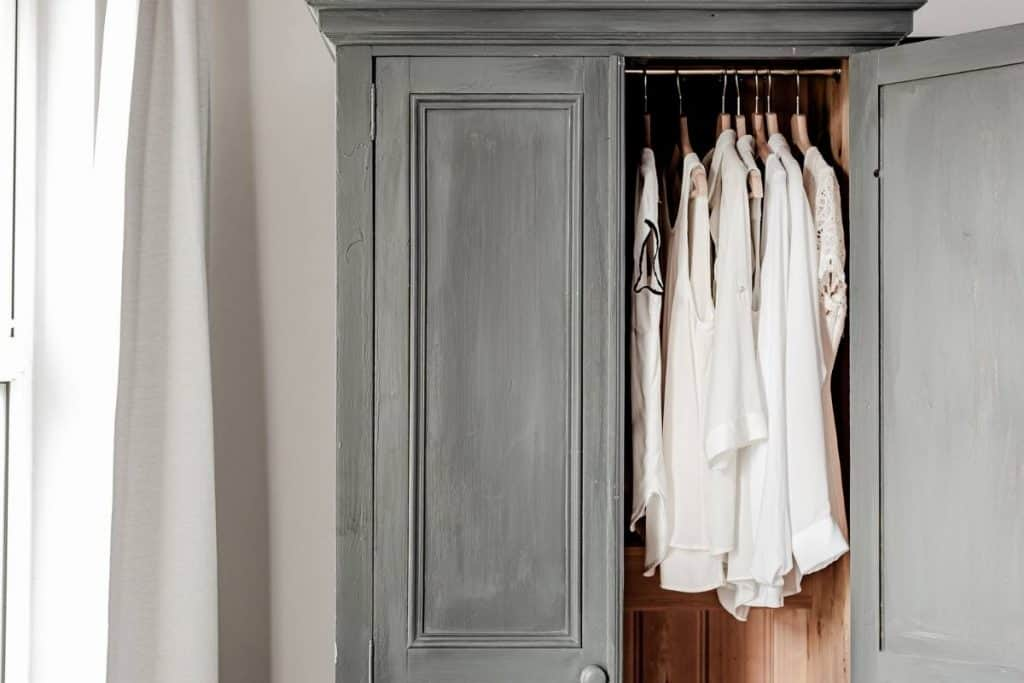 armoire with white clothes