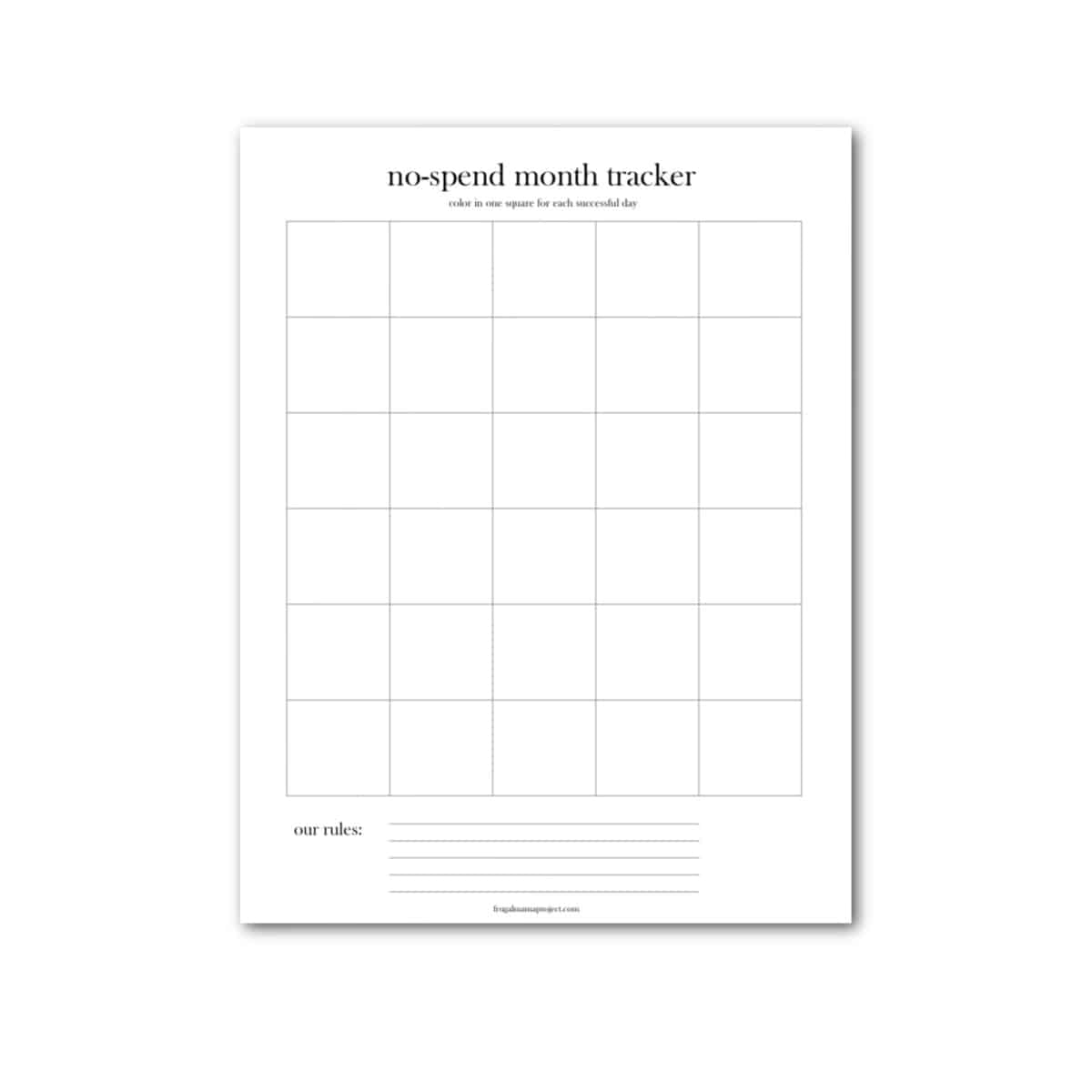 image of black and white printable no spend month tracker