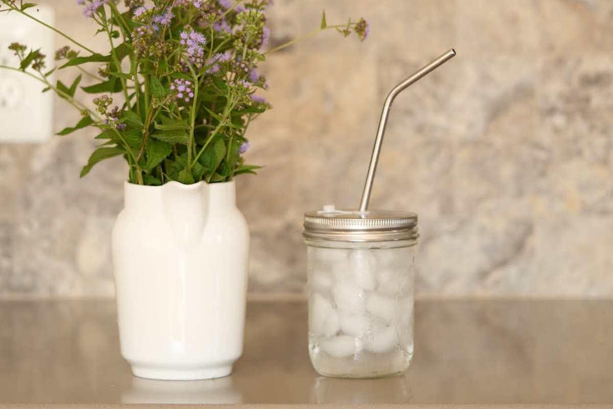 mason jar with straw lid