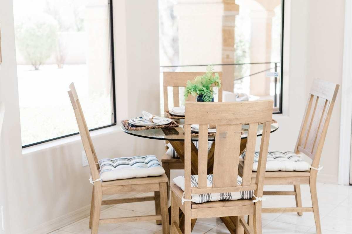 round kitchen table set for dinner