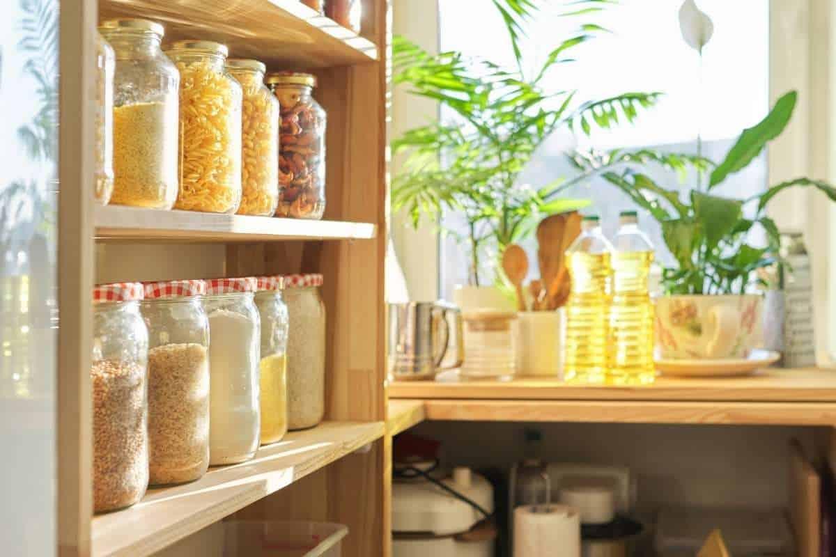 pantry room with glass jars
